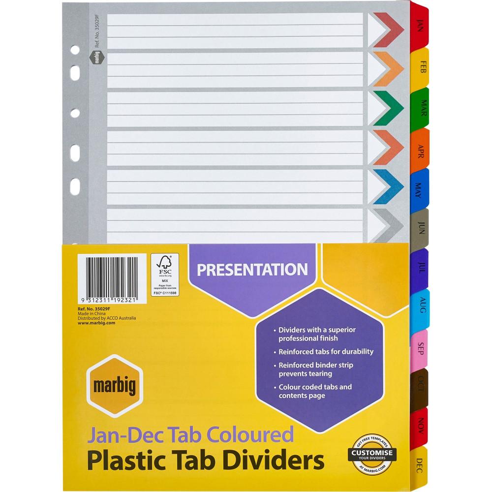 Marbig Plastic Divider A4 Reinforced Jan-Dec Tab Multi Colour