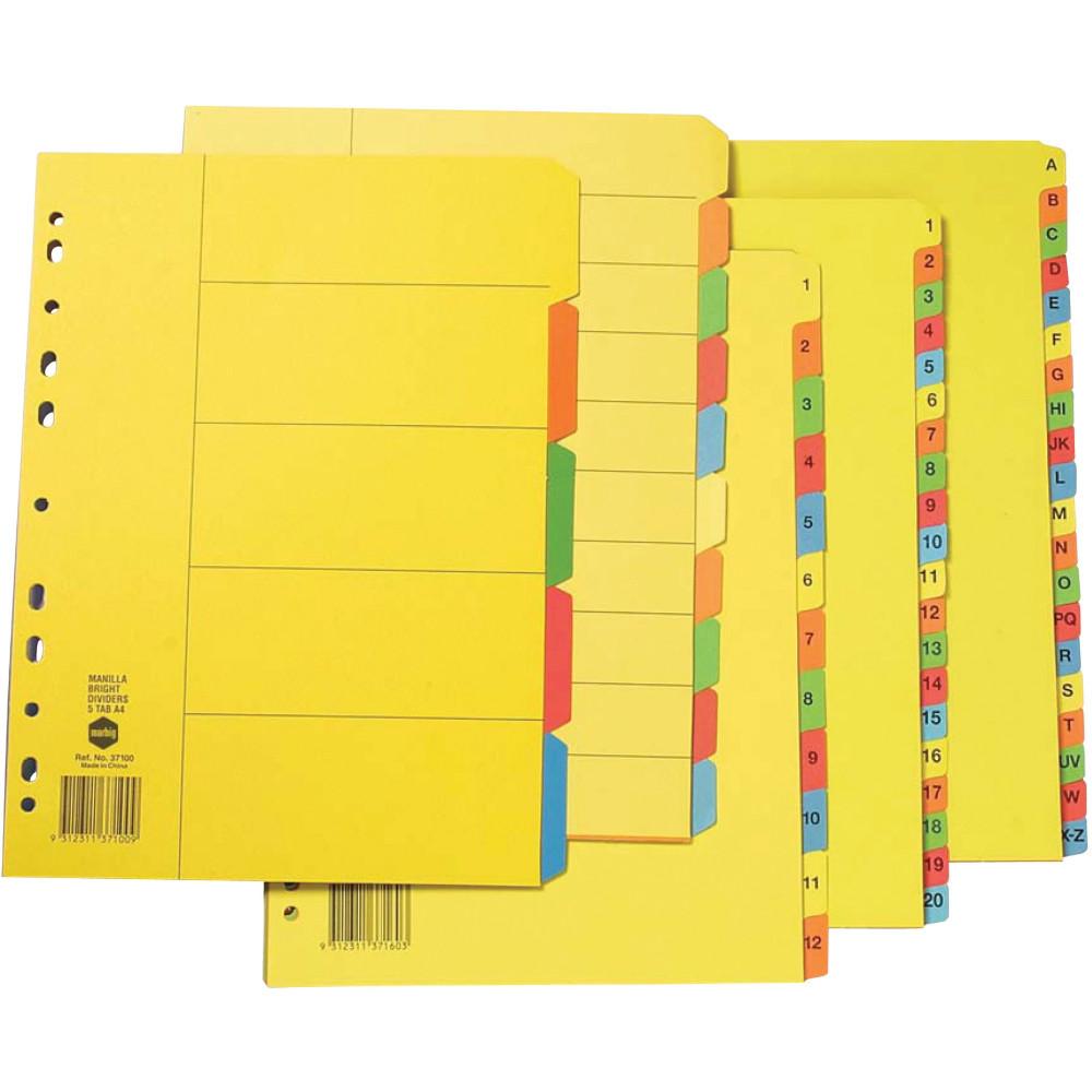 Marbig Manilla Divider A4 A-Z Tab Bright Colours
