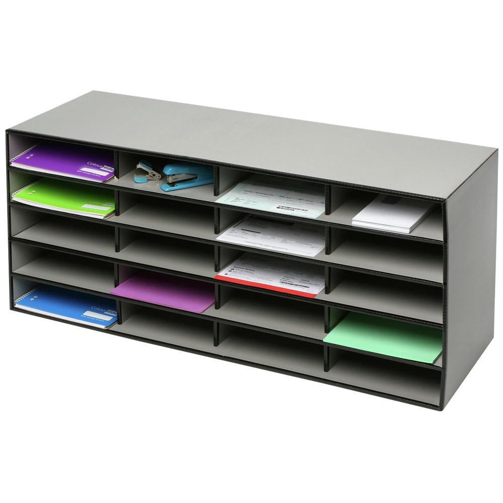 Marbig Literature Sorter 955Wx310Dx430Hmm 20 Compartment Grey