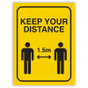Durus Health And Safety Sign Wall Sign Social Distance Yellow and Black