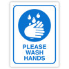 Durus Health And Safety Sign Wall Sign Wash Hands Blue and White