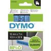 DYMO D1 LABEL CASSETTE TAPE 12mm x 7m Black on Blue