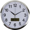 ITALPLAST LCD WALL CLOCK 36cm Chrome Frame/White Face