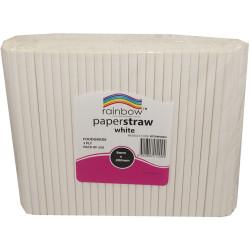 RAINBOW PAPER STRAWS 8MM WHITE Pack of 250