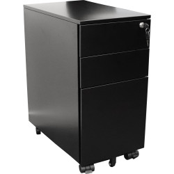 STEEL STORAGE MOBILE PEDESTAL 1 file 2 box drawers H610xW300xD472mm Black