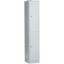 Go Steel Storage Locker Two Door 1830Hx305Wx455mmD Silver Grey