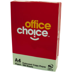 OFFICE CHOICE 80GSM A4 TINTED Paper Green 500 Sheets Ream
