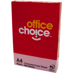 OFFICE CHOICE 80GSM A4 TINTED Paper Pink 500 Sheets Ream