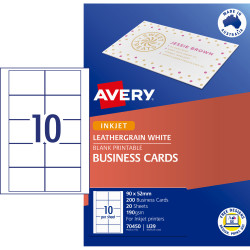 AVERY IJ39 BUSINESS CARDS I/Jet Leathergrain 200gsm Wht Pack of 200
