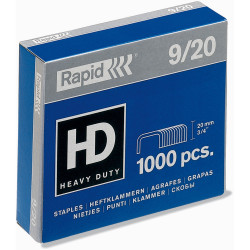 RAPID 9/20 STAPLES 20mm Heavy Duty Box of 1000