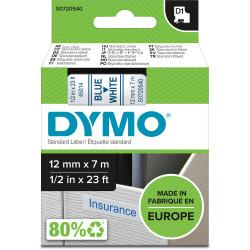 DYMO D1 LABEL CASSETTE TAPE 12mm x 7m Blue on White