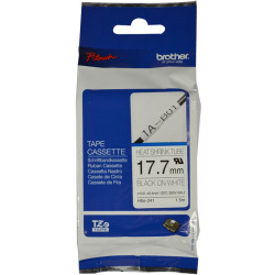 BROTHER HSE-241 SHRINK TUBE 17.7mm Black On White Compatible with PT-E300VP