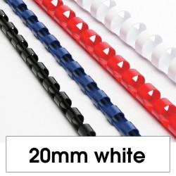 Rexel Plastic Binding Comb 20mm 165 Sheet Capacity White Pack of 100