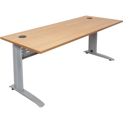 Rapid Span Open Straight Desk 1500Wx700mmD Modesty Panel With Beech Top & Silver Steel Frame