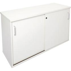 Rapid Span Melamine Credenza 730Hx1200Wx450mmD Lockable Sliding Doors All White