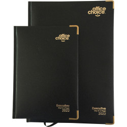 OFFICE CHOICE EXECUTIVE DIARY A5 Day To Page Leathergrain Black