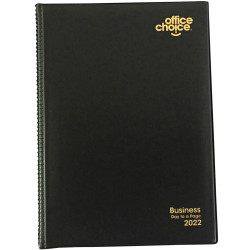 OFFICE CHOICE BUSINESS DIARY A5 Day To Page Pvc Padded Cover Black