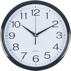 ITALPLAST WALL CLOCK 30cm Black Frame/White Face