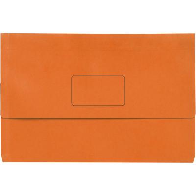 Marbig Slimpick Document Wallet Foolscap Manilla 30mm Gusset Orange Pack Of 10