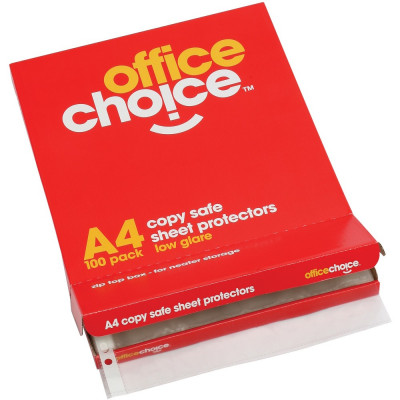 Office Choice Sheet Protectors A4 Copy safe Box Of 100
