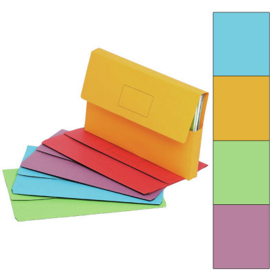 Marbig Slimpick Document Wallet Foolscap Manilla 30mm Gusset Assorted Pack Of 10